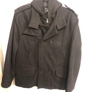 Men's black size L apt 9 pea coat cotton hoodie
